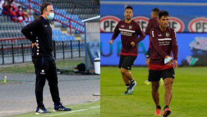 Rivales chilenos. Juan José Luvera, el técnico de Huachipato, y Pablo Alvarado, de Palestino. Rivales para Central y Newells en la Copa Sudamericana.