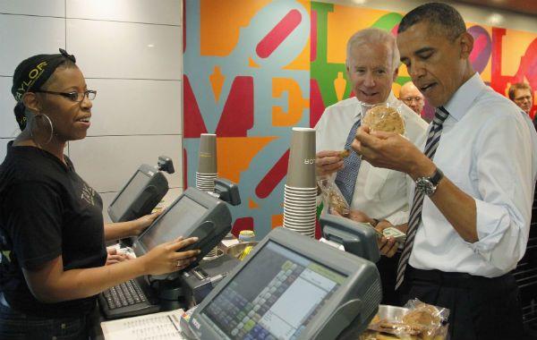 Almuerzo frugal. Obama