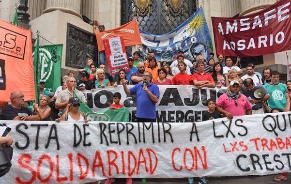 Reclamo. En la primera marcha sindical contra la política económica de Macri
