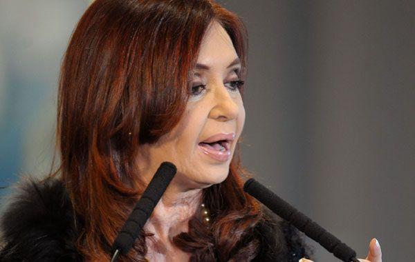 La presidenta Cristina Kirchner habló ayer en la Casa Rosada.