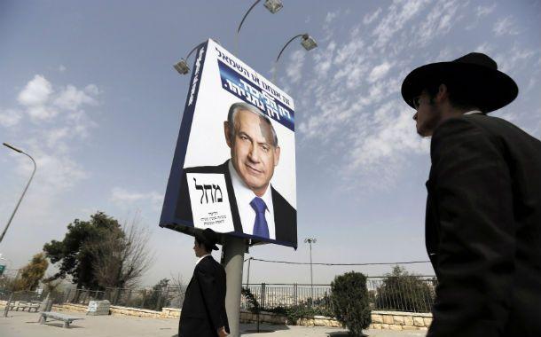 La campaña. Un afiche de Netanyahu