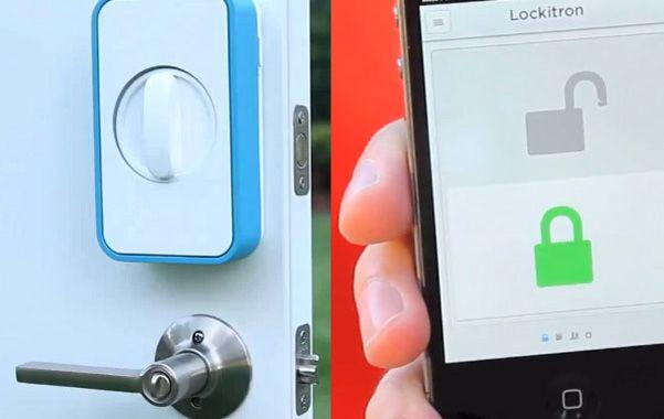 Muestra. Una cerradura que es accionada a distancia con un celular.