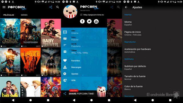 Todo para ver. PopCorn Time es una de las aplicaciones libres para bajar películas y series.