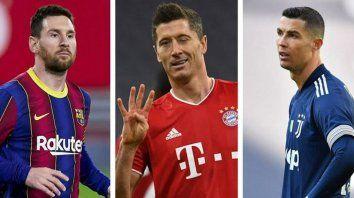 Lionel Messi, del Barcelona, comparte el tercer puesto en la lucha por el Botín de Oro Europeo, pero lejos del polaco Robert Lewandowski, que es seguido por el portugués Cristano Ronaldo.
