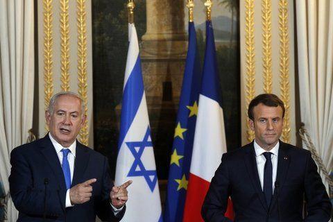 tensión. Netanyahu y Macron en la conferencia de prensa en París.
