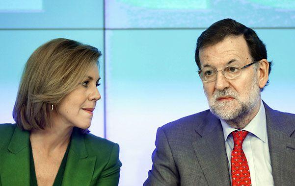 Línea dura. Rajoy y la jefa del PP
