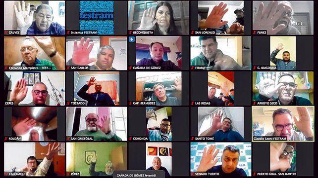Teleconferencia. Participaron 35 sindicatos adheridos a la Federación de Trabajadores Municipales.
