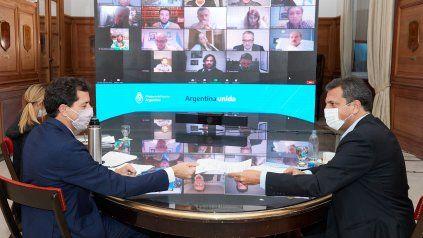 Encuentro. Wado de Pedro y Massa, en reunión virtual con los jefes de las bancadas en Diputados.
