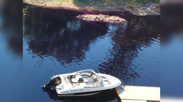 El agua de la desembocadura del arroyo Ludueña se tiñó de color violeta