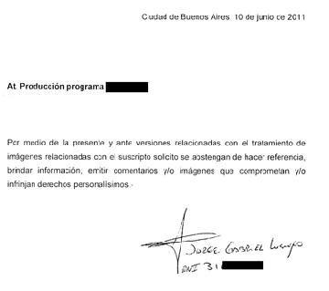 La carta de Negro Luengo para que no se emitan las imágenes del supuesto video de la discordia