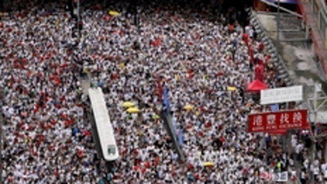 multitud. Los manifestantes desbordaron el centro de Hong Kong