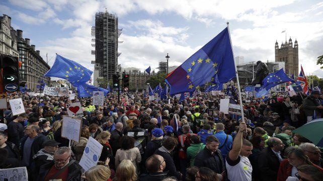 Londres. Imagen de la manifestación anti-Brexit de ayer.