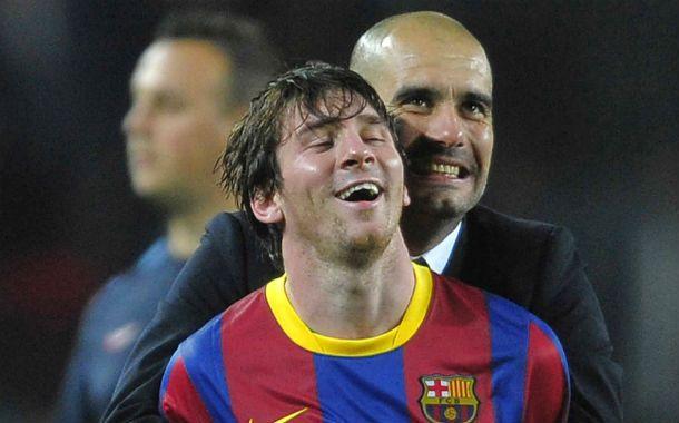 Tiempos de gloria. Pep Guardiola abraza a Messi en otro de los tantos logros deportivos azulgranas.