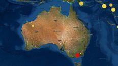 El epicentro del sismo, en la zona de Melbourne, en el sureste de Australia.