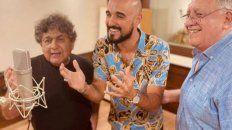 Abel Pintos publicó una foto con Cacho Deicas y Marcos Camino, de Los Palmeras, en un estudio de grabación.