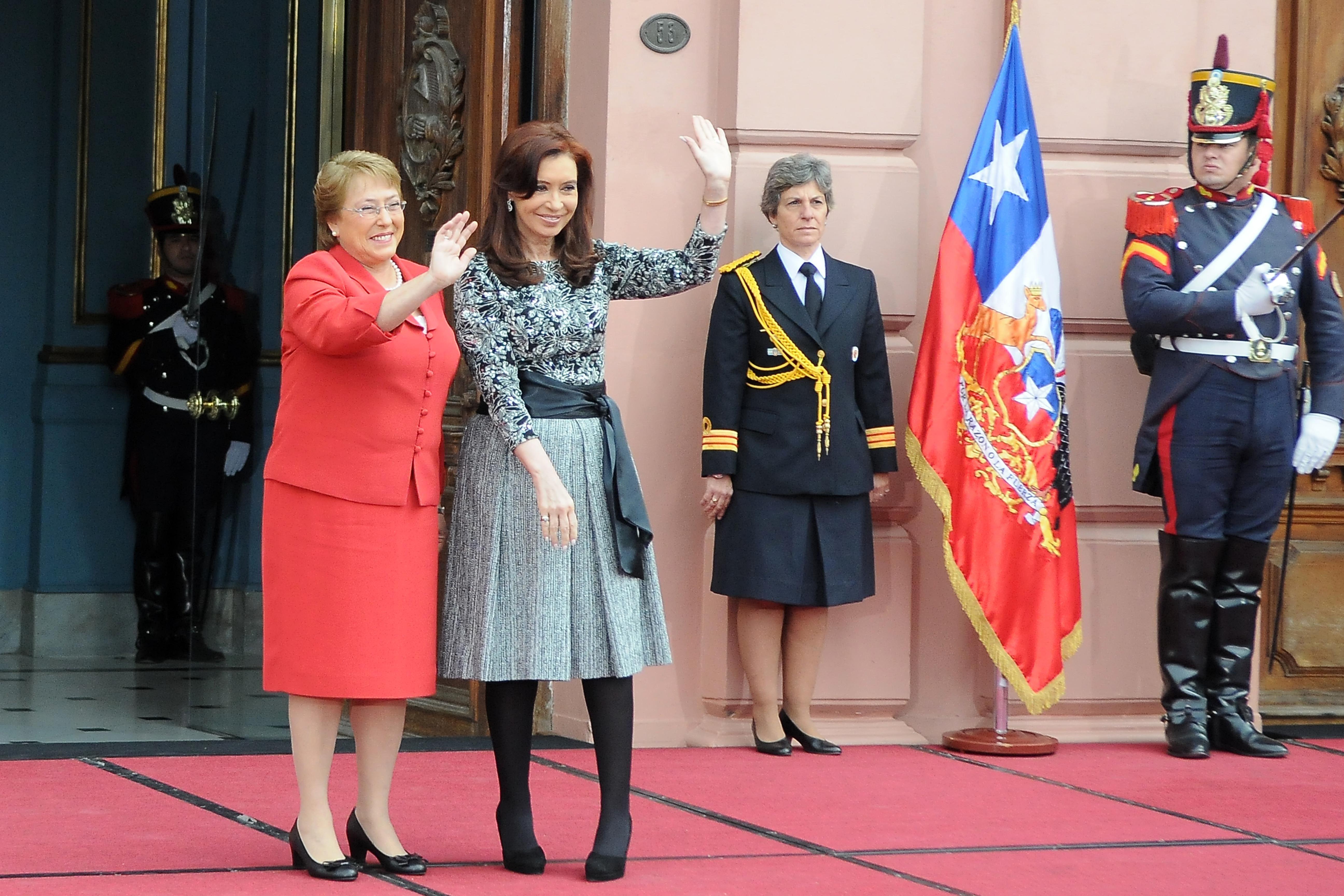 Cristina recibió a la presidenta de Chile