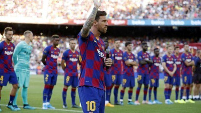 Contundente. Messi tomó la posta a la hora de la presentación del equipo y respaldó al plantel de cara la temporada que se viene.