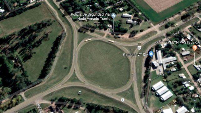 El lugar. La agresión fue en cercanías de la rotonda de las rutas 33 y 8.