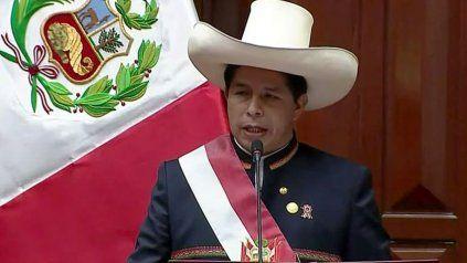Pero Castillo dio su primer discurso como presidente este miércoles en el Congreso, en Lima.