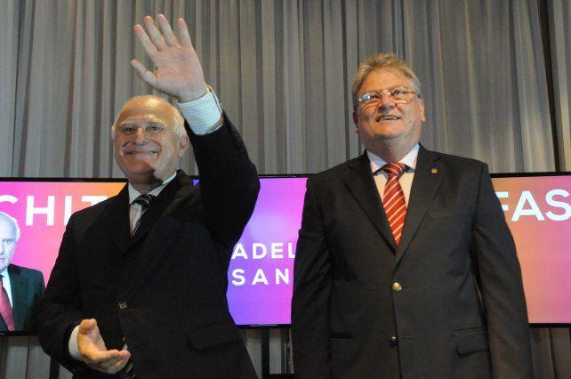El gobernador Miguel Lifschitz y su compañero de fórmula Carlos Fascendini.