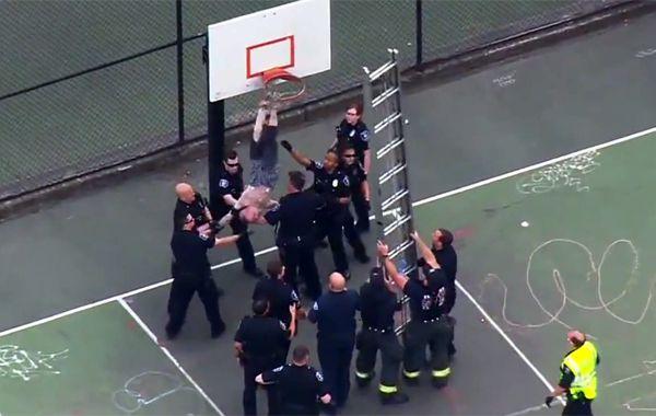 Los policías trabajan para bajar al descontrolado hombre.