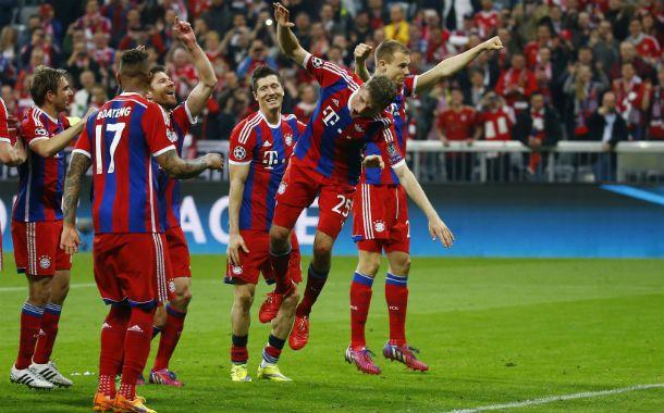 Los alemanes festejan la goleada en Munich.