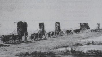 Tropa de carretas. Palliere. Acuarela c. 1858. En Monumenta Iconográphica (Emecé, 1964)