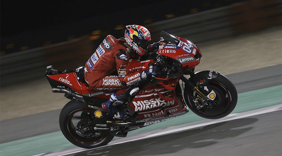 Italy's rider Andrea Dovizioso in action during the MotoGP World Championship race at the Losail International Circuit in Doha