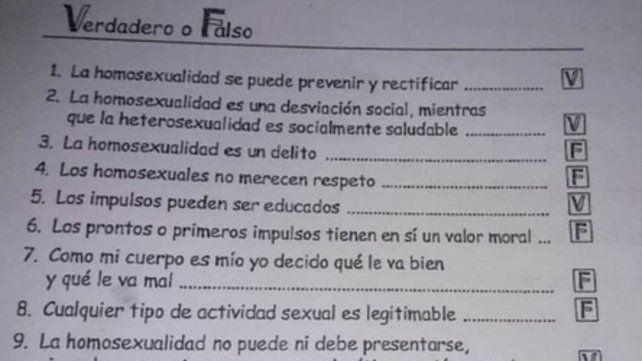 Verdadero o falso. El cuestionario entregado con las preguntas.