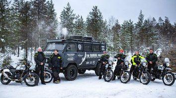 Expedicionarios. Se moverán en motos con cubiertas especiales para transitar sobre el hielo.