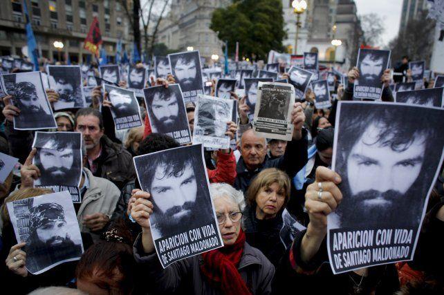 Una de las movilizaciones en reclamo por la aparición con vida de Maldonado.