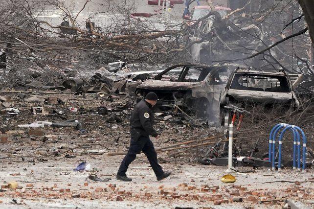 El devastador efecto de la explosión de la casa rodante cargada de explosivos en Nashivlle