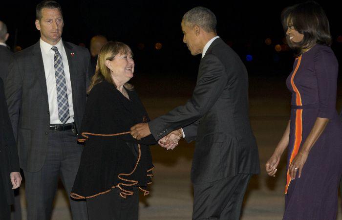 Malcorra le dio anoche la bienvenida al presidente de los Estados Unidos.