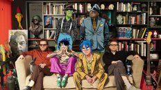 Foto de familia. Hewlett y Albarn junto a sus criaturas. El combo regresó con invitados como Beck y Elton John.