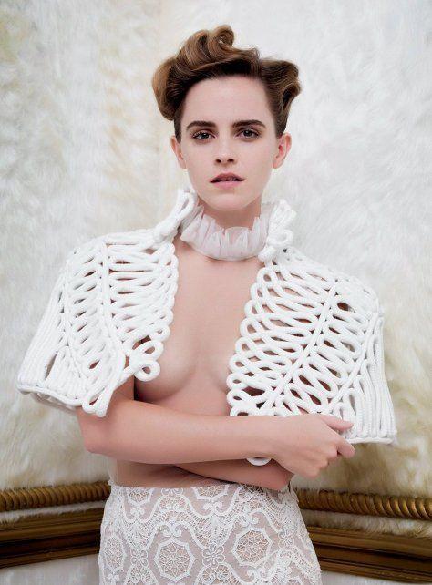 Emma Watson en la polémica foto publicada por la revista Vanity Fair.