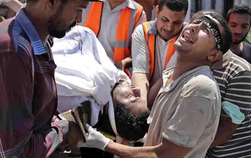 Dolor. Los islamistas improvisaron un hospital