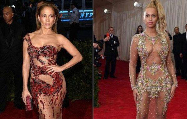 Los semidesnudos de Jennifer López y Beyoncé fueron los estilos mas osados de la gala. (Reuters y AP)