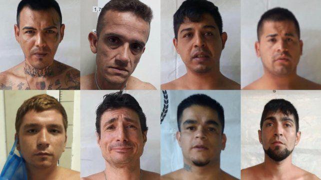 Los ocho presidiarios que se escaparon el domingo a la tarde. Dos fueron recapturados durante la madrugada.