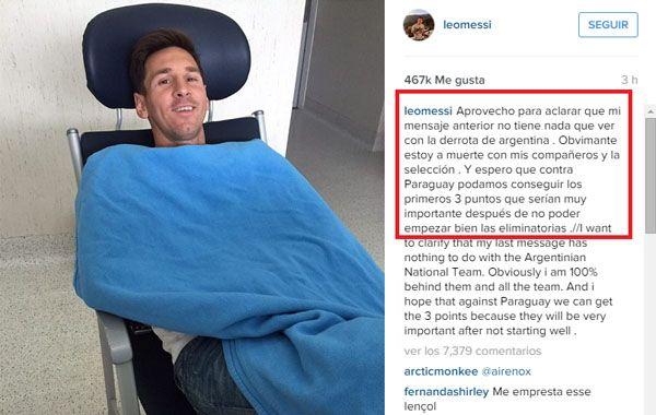 La Pulga explicó en Instagram que el mensaje no apuntaba a la selección.