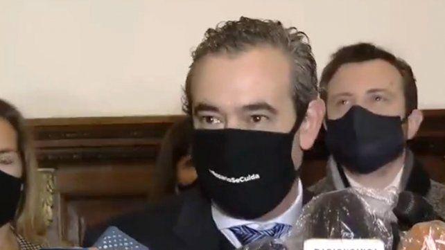 El intendente esta mañana en el Concejo Municipal donde participó de un acto por Belgrano.