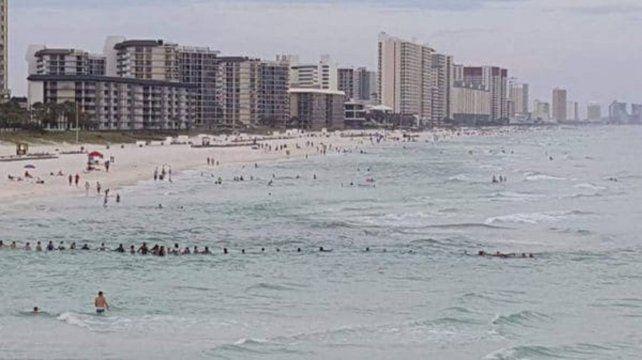 Formaron una cadena humana para rescatar a una familia que había sido arrastrada por el mar