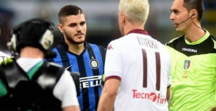 Icardi quiso saludar a Maxi Lópezy el rubio atacante del Torino le dio vuelta la cara.