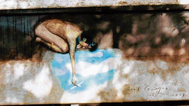 Un mural con su firma. El arte de Gómez