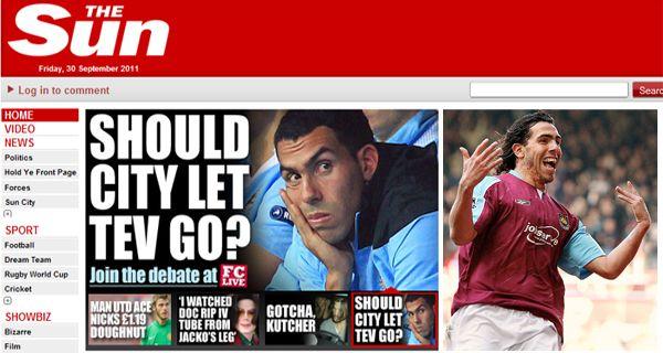 West Ham hará una oferta por Tevez, suspendido en Manchester City