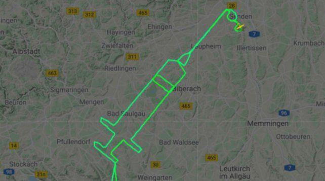 Espectacular. La ruta del piloto Samy Kramer para dibujar una jeringa en el cielo.