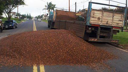 Un camión perdió la carga completa de canto rodado en avenida Zanni