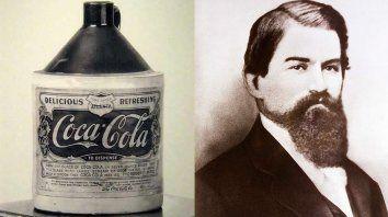 La primera botella de Coca-Cola y su creador, John S. Pemberton.