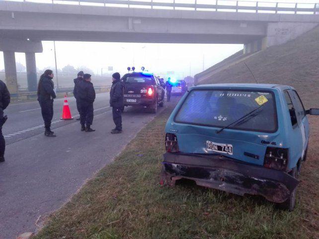 Uno de los vehículos involucrados en el múltiple accidente.