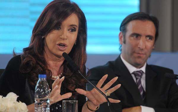 La presidenta Cristina Fernández de Kirchner y el ministro de Economía