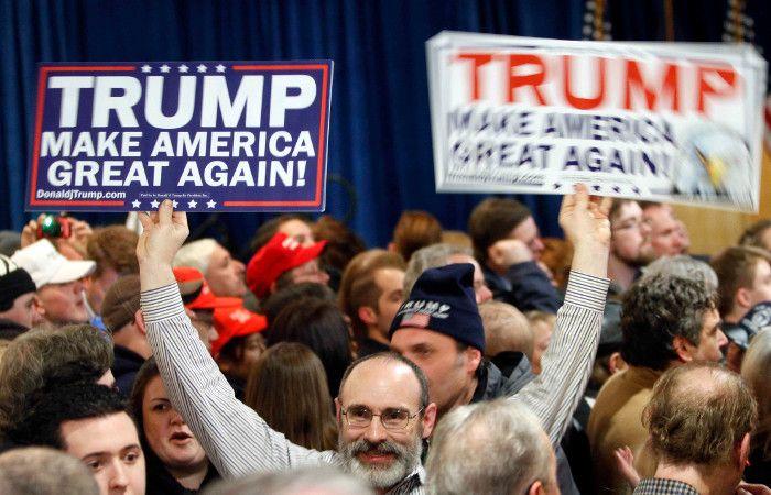 Los seguidores de Trump celebraron en Nuevo Hampshire la primera victoria en las primarias.